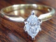 VINTAGE MARQUISE DIAMOND ENGAGE WED RING SOLID REAL 14K GOLD SIZE 7